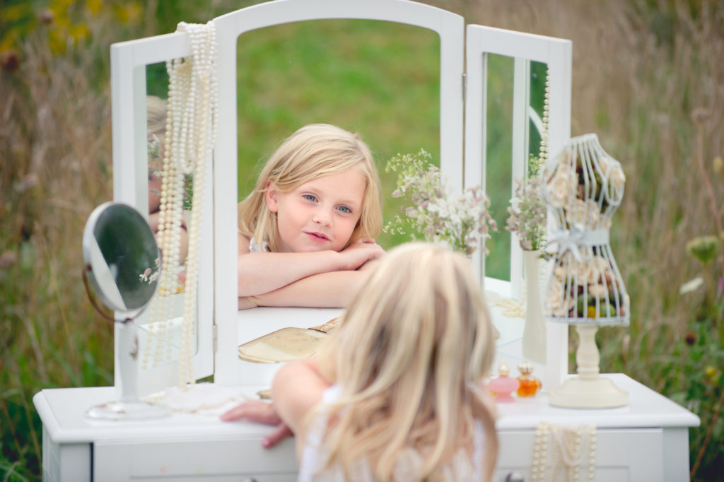 Young Blonde Girl With The Old Chair And Mirror 1